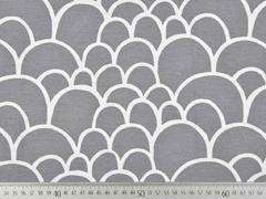 Dekostoff Halbkreise Schuppenmuster, weiß grau