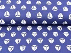 Jacquard Jersey Boote, weiß mittelblau