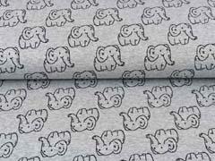 Jacquard Jersey Elefanten,schwarz hellgrau meliert