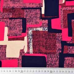 Viskose Jersey Stoffstoff Quadrate, dunkelblau pink