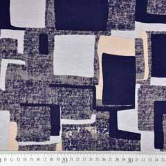 Viskose Jersey Stoff Quadrate, dunkelblau beige