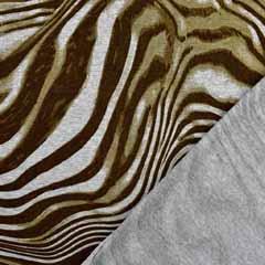 Viskose Jersey Stoff  Zebra Muster, grau khaki