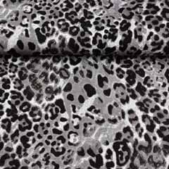RESTSTÜCK 80 cm Viskose Jersey Stoff Leopardmuster, schwarz