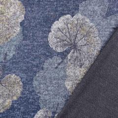 Strickjersey Stoff Ginkgoblatt, grau dunkelblau