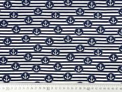 Jersey Anker im Kreis Streifen, weiß dunkelblau