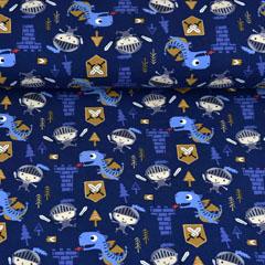 Jerseystoff Ritter Drachen, ockergelb dunkelblau