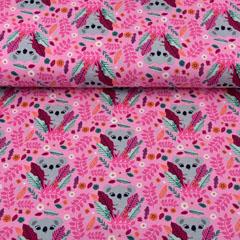 Jersey Stoff Koala Bären Zweige, rosa