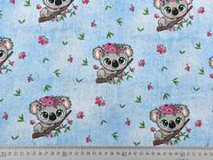 Jersey Stoff Koala Bären Schmetterlinge Jeanslook, hellblau