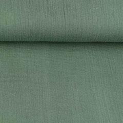 Musselin Stoff Double Gauze uni, dunkelgrün