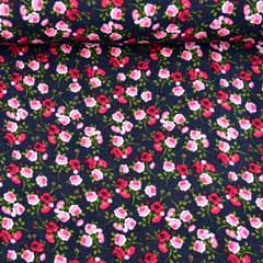 Musselin Baumwollstoff Rosen Blumen zweilagig, dunkelblau