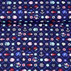 Baumwollstoff Anker Fische Blümchen, dunkelblau