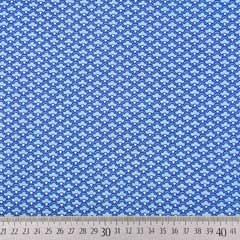 Baumwollstoff kleines Fächermuster, mittelblau hellblau