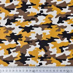 Dekostoff Camouflage Leinenlook, ockergelb braun schwarz