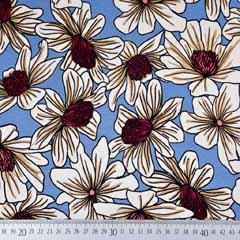 Viskose Jersey Stoff Sommerblumen, hellblau