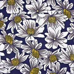 Viskose Jersey Stoff Sommerblumen, dunkelblau