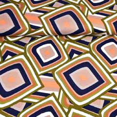 Viskose Jersey Stoff Rauten Retro Muster,braun khaki