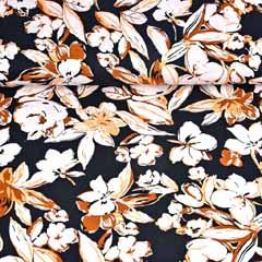 Viskose Jersey Stoff Blumen, braun aprikot schwarz