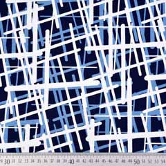 Viskose Jersey Stoff Linien Gitternetz, jeansblau dunkelblau