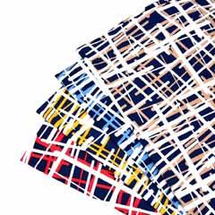 Viskose Jersey Stoff Linien Gitternetz, ockergelb dunkelblau
