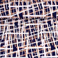 Viskose Jersey Stoff Linien Gitternetz, beige dunkelblau