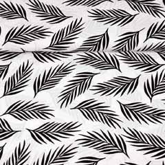 Viskose Stoff Federn Blätter, schwarz weiss