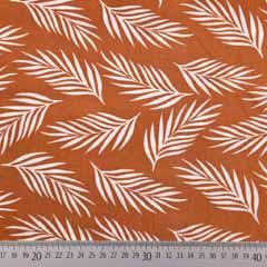 Viskose Stoff Federn Blätter, weiss terracotta