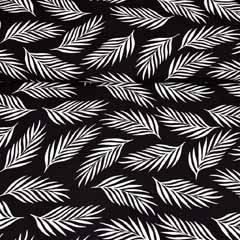 Viskose Stoff Federn Blätter, weiss schwarz