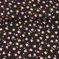 Viskose Stoff Rosen Punkte, schwarz
