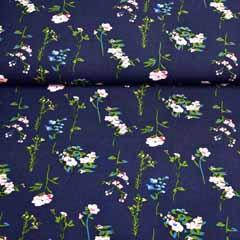 Viskose Stoff Blumenzweige, dunkelblau