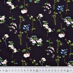 Viskose Stoff Blumenzweige, schwarz