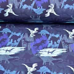 Softshellstoff Jackenstoff Dinos, dunkelblau