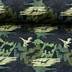 RESTSTÜCK 66 cm Softshellstoff Jackenstoff Dinos, dunkelgrün