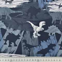 RESTSTÜCK 75 cm Softshellstoff Jackenstoff Dinos, dunkelgrau