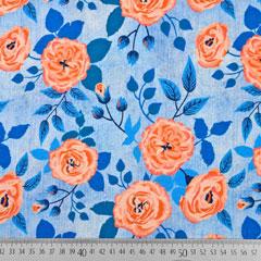 Jerseystoff Blumen Jeans Optik Digitaldruck, aprikot hellblau