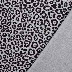 Jerseystoff Leomuster, schwarz grau meliert