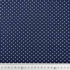 Jerseystoff kleine Punkte, weiss dunkelblau