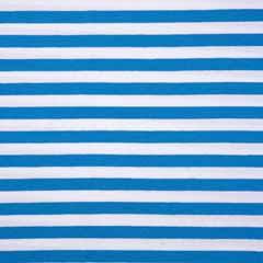 Jerseystoff Streifen 1 cm Garn gefärbt, himmelblau weiß