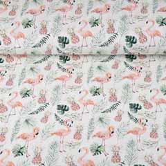Jerseystoff Flamingos Ananas Digitaldruck, rosa grün weiß