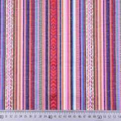 Mexiko Stoff Jacquard Ethno Look Streifen & Borten, rot rosa