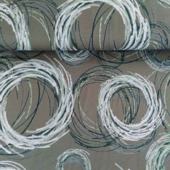 Viskose Jerseystoff Kringel Kreise, schwarz weiß khakigrün