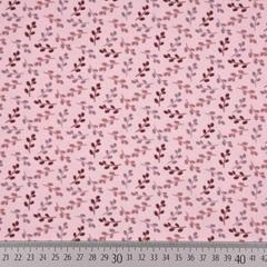 Jerseystoff kleine Zweige, mauve bordeaux rosa
