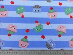 Baumwolle Cupcake Gesichter, hellblau