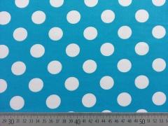 Baumwollstoff Punkte 2,2 cm, weiss auf türkis