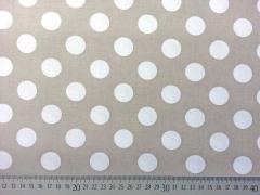 BW Punkte 2,2 cm - weiss auf beige