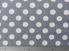 RESTSTÜCK 79 cm Baumwllstoff Punkte 2,2 cm - weiss auf mittelgrau