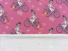 Sweatstoff French Terry Mädchen Fahrrad Pudel, pink