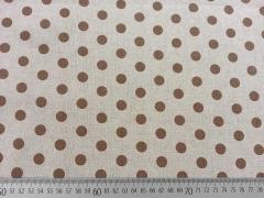 Dekostoff Punkte 1,3 cm - braun auf natur