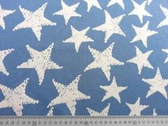 RESTSTÜCK 52 cm Jeansjersey  mit Sternen, hellblau
