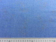 RESTSTÜCK 80 cm Chambray Jeans Glitzer-Paisley, mittelblau