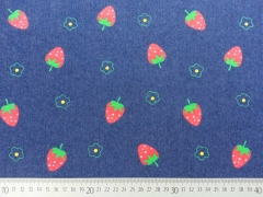 RESTSTÜCK 98 cm Stretchjeansstoff Erdbeeren, dunkelblau